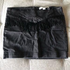 Fringe and denim mini skirt from Forever 21